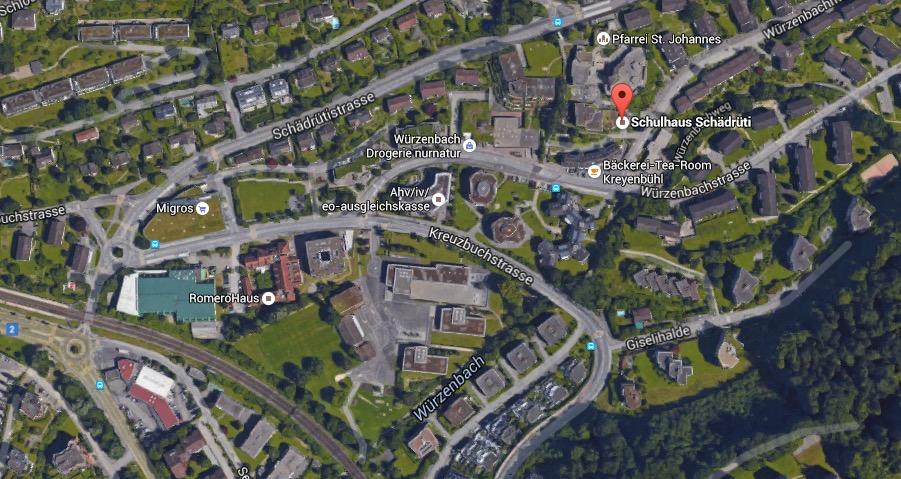 Das Schädrüti Schulhaus befindet sich im Würzenbachquartier (Bild: Google maps)