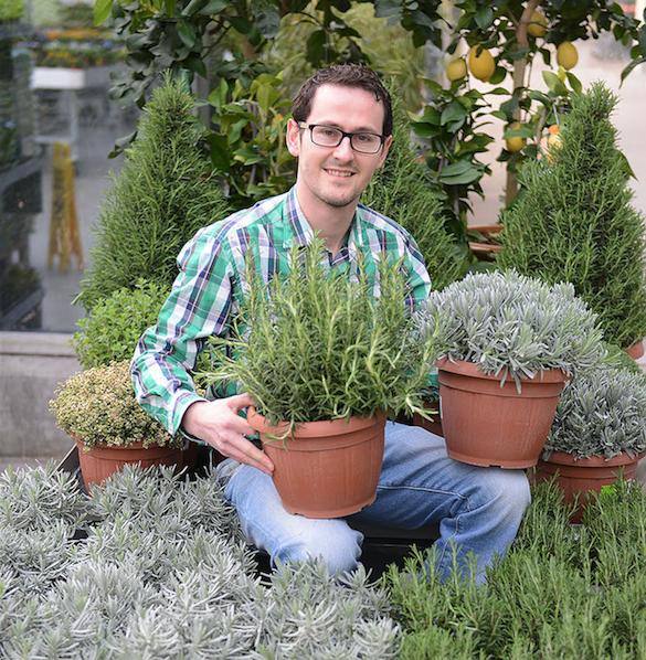 Valentin Brändle, Verantwortlicher Blumen und Pflanzen beim Fachmarkt Do it + Garden der Migros Luzern