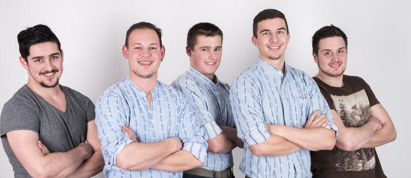 Die Kandidierenden der Jungen SVP Kriens: Bucher Sandro, Imfeld Marco, Fischer Sandro, Allgäuer Lars, Wenger David (von links nach rechts). (Bild: www.jungesvp-kriens.ch)