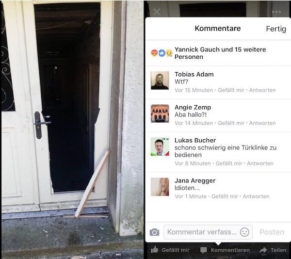 Die am Morgen eingebrochene Türe bei der Villa.