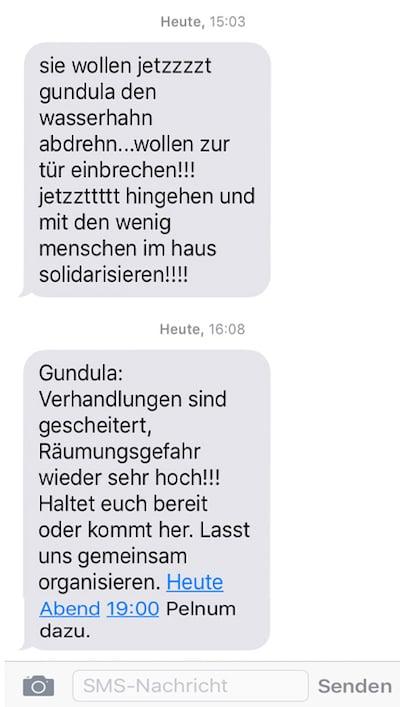 Die SMS von der Gruppe Gundula, die zur Solidarität aufruft.