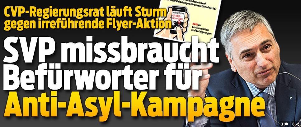 Der «Blick»machte publik, dass Guido Graf Sturm gegen eine irreführende SVP-Kampagne läuft.