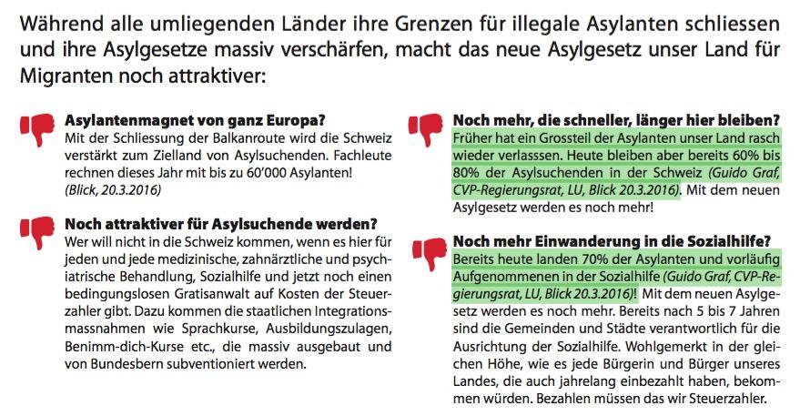 Im SVP-Flyer wird Guido Graf prominent zitiert.