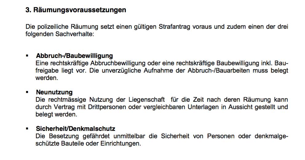 Ein Ausschnitt aus dem Merkblatt der Stadtpolizei Zürich.