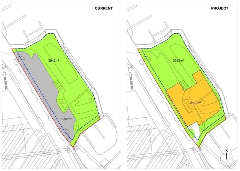 Der Neubau (orange) kämte sehr nahe ans Seeufer. Grau eingezeichnet ist der heutige Carparplatz, der aufgehoben würde.