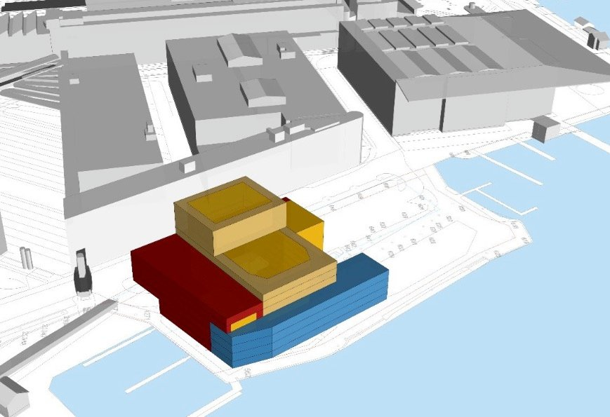Auf dieser Volumenstudie ist gut ersichtlich, wie die Nachbarschaft entlang der Werftstrasse vom Neubau betroffen wäre: Weniger Aussicht und Sonne.