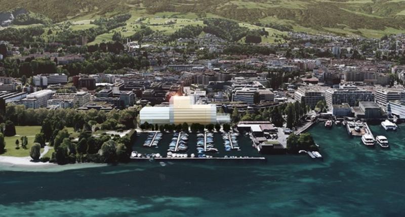Visualisierung der Salle Modulable beim Motorboothafen.