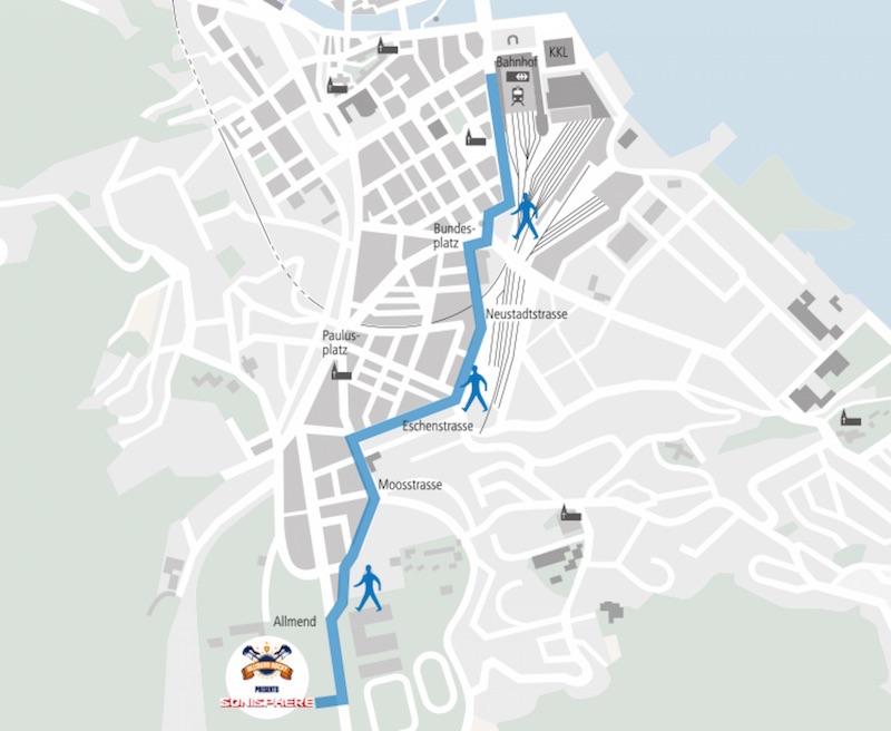 Auf dem blau eingezeichneten Weg können die Metal-Fans zu Fuss vom Bahnhof auf die Allmend gelangen.