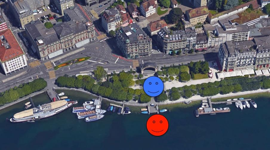 Rotes Smily: Hier soll die Seerose ankern. Blaues Smiley: Hier vor dem Pavillon soll das Eisfeld hin.