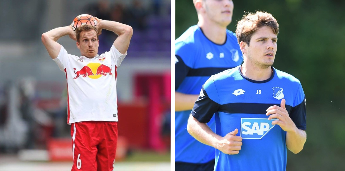 Christian Schwegler (links) spielt zurzeit bei Redbull Salzburg, Pirmin Schwegler bei der TSG 1899 Hoffenheim. (Bilder: Facebookseite der Vereine)