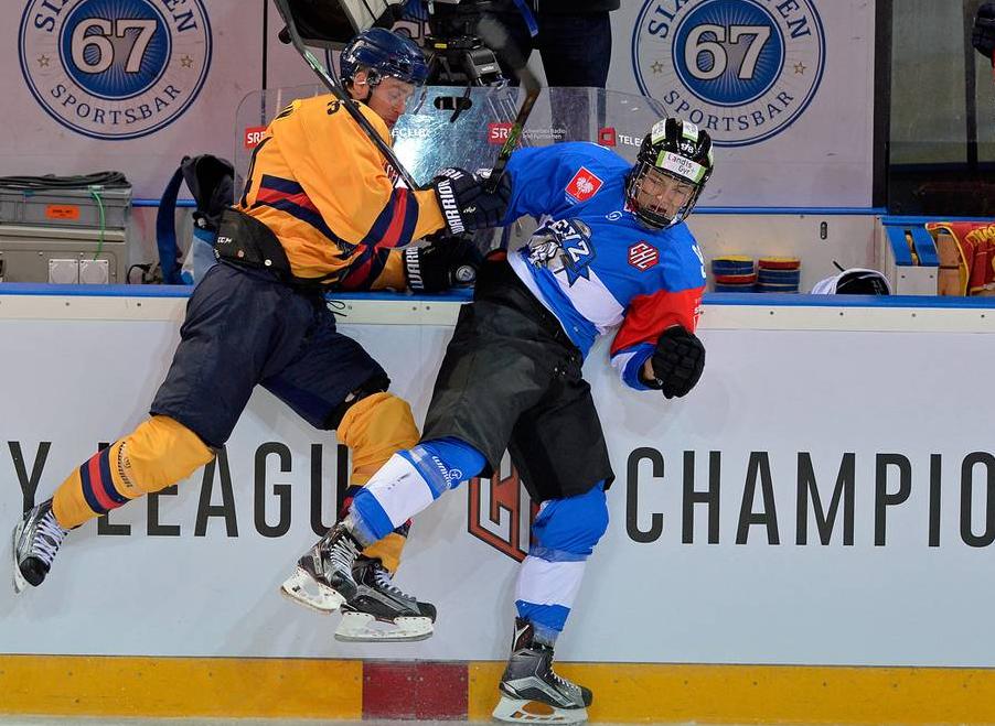 Eishockey ist ein harter Sport, in Schweden «ist das Niveau noch höher», sagt Stadler (rechts).