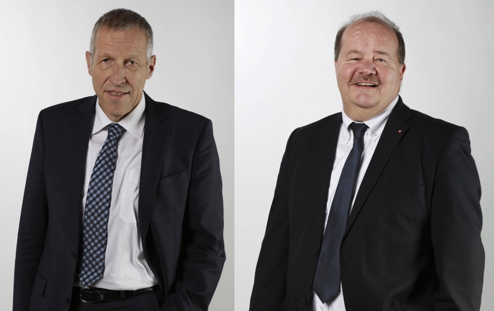 CVP-Ständerat Konrad Graber (links) lehnt die Milchkuh-Initiative ab. SVP-Nationalrat Felix Müri ist dafür. (Bilder: parlament.ch)