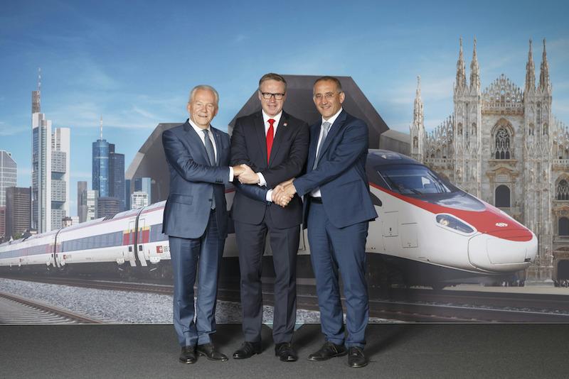 Die CEOs Rüdiger Grube, Andreas Meyer und Renato Mazzoncini (von links) in Lugano. (Bild: SBB/François Gribi)