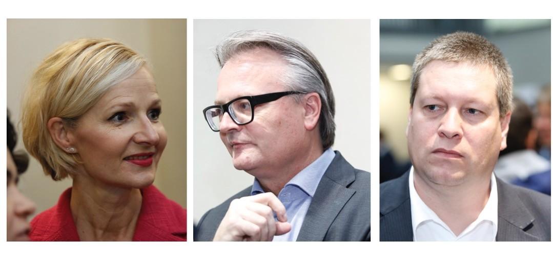 Manuela Jost (links) und Stefan Roth (Mitte) schafften die Wahl in die Stadtluzerner Regierung. Peter With ist gescheitert.