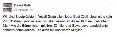 SP-Kantonalpräsident David Roth freut sich auf Facebook über Züslis Sieg.
