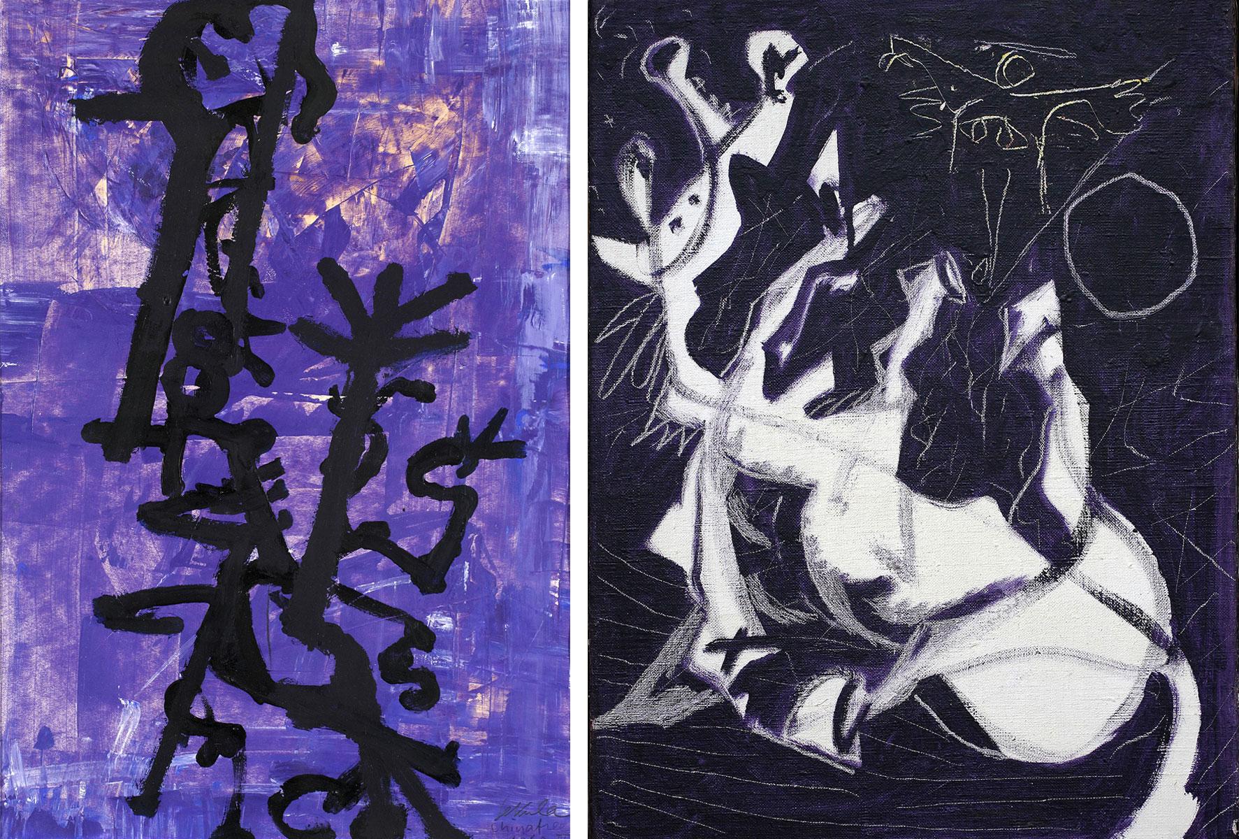 Zwei Werke in der Ausstellung. Links: Sonja Sekula: «Chinatree», 1960. Rechts: Jackson Pollock: «Untitled (Composition with Sgraffito II)», 1944. (Bild: Kunstmuseum Luzern/Kunsthaus Zürich)