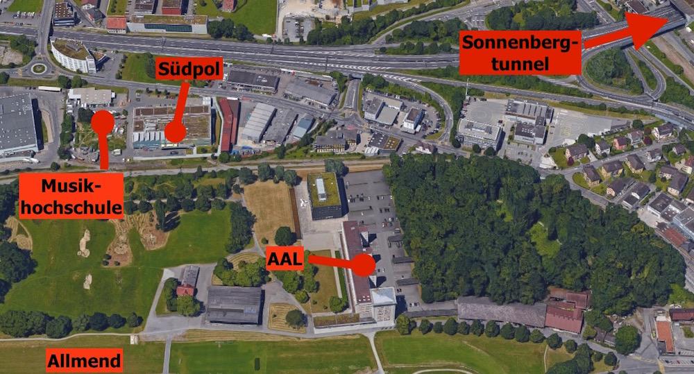 Die neue Musikhochschule befindet sich neben dem Südpol auf Krienser Boden, aber direkt angrenzend an die Stadtluzerner Allmend.