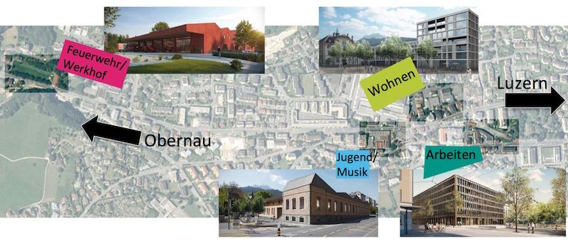 Auf dieser Karte ist ersichtlich, wo in Kriens die vier Teilprojekte realisiert werden.