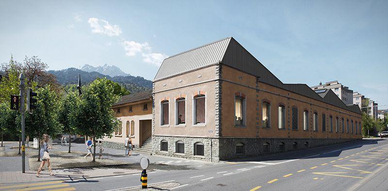 So soll die alte Schappe-Fabrik dereinst von aussen aussehen. Rechts geht die Strasse in Richtung Obernau.