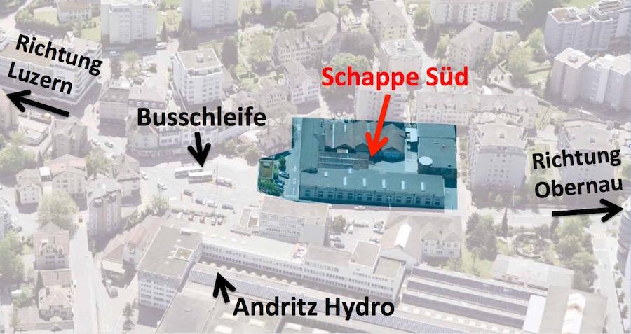 Die alte Schappe-Fabrik liegt direkt vis-à-vis der Firma Andritz Hydro bei der Busschleife.