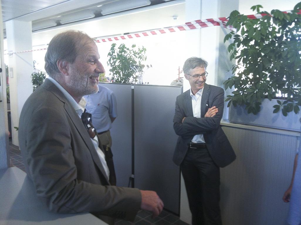 Freuen sich aufs neue Gebäude: Stadtpräsident Dolfi Müller und Finanzchef Karl Kobelt.