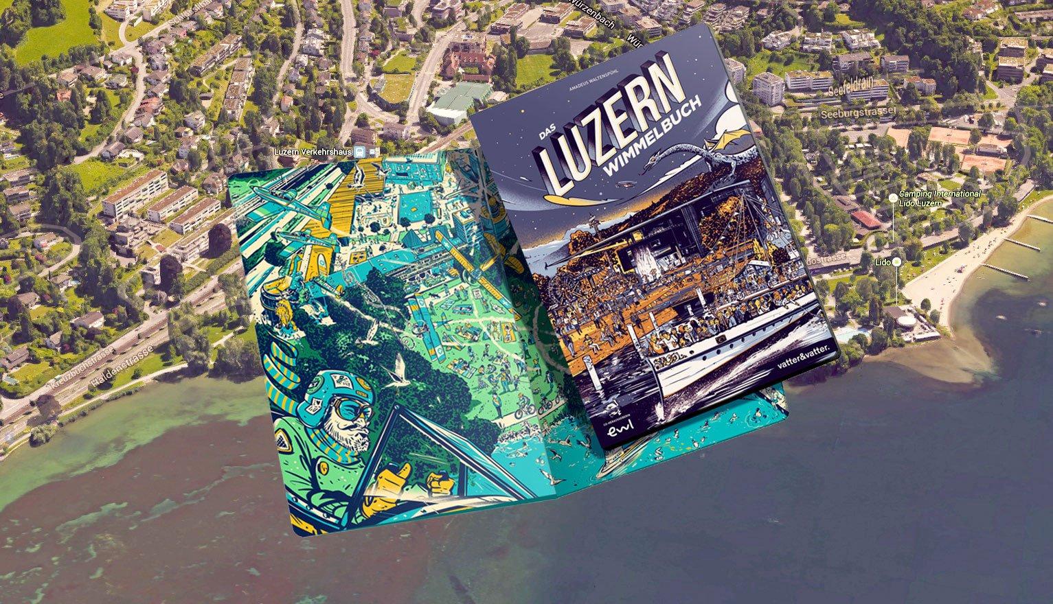 Neuer Blick auf die Stadt: das Luzerner Wimmelbuch. (Montage: zentralplus)