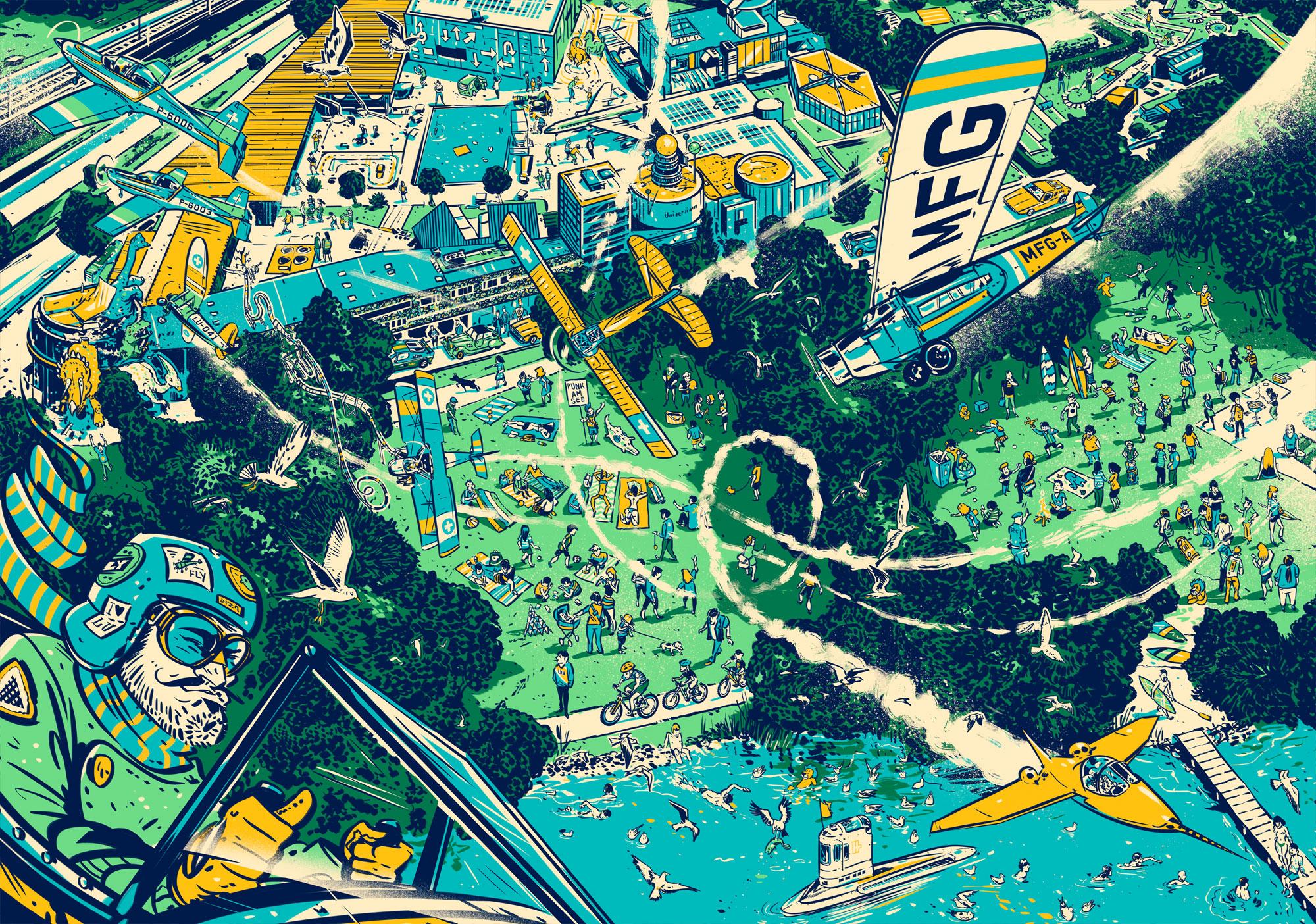 Bild aus dem Buch: Blick auf die Lidowiese und das Verkehrshaus – und wo ist der Löwe? (Bild: zvg/Amadeus Waltenspühl)