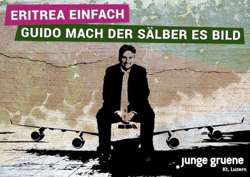 Mit diesem Flyer sammelten die Jungen Grünen damals Geld für eine Eritreareise von Guido Graf.