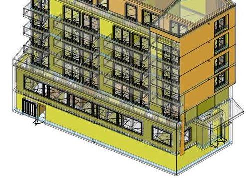 Ein Beispiel der Anwendung von Building Information Modelling (BIM) mit einem dreidimensionalen Gebäude.
