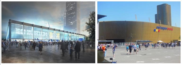 Fassadenvergleich: Links das geplante Züri-Stadion, rechts die FCL-Arena.