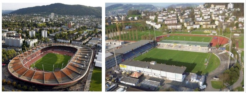 Links das Zürcher Letzigrund-Stadion, rechts die abegrissene Allmend.