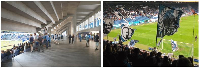 Links die Visualisierung des neuen Züri-Stadions, rechts ein Foto aus der FCL-Arena.