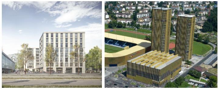 Links: So soll der Bau für die gemeinnützigen Wohnungen in Zürich aussehen. Rechts: In Luzern wurde nebst den beiden Wohntürmen ein grosses Sportgebäude realisiert.