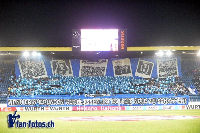 Die Choreo der Fans im Cup-Halbfinal. (Bild: fcl.fan-fotos.ch / Dominik Stegemann)