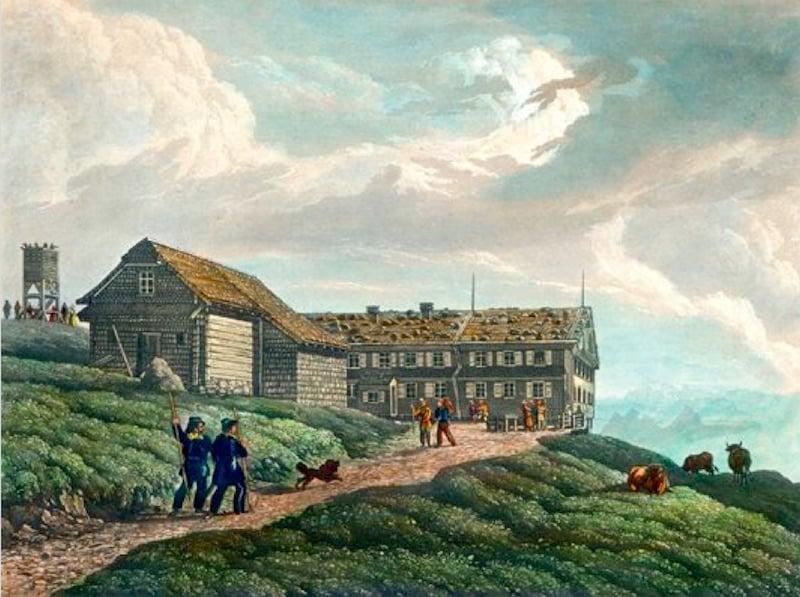 1816 fand die Eröffnung des ersten offiziellen Gasthauses auf Rigi Kulm statt (Bild: © Regionalmuseum Vitznau-Rigi)
