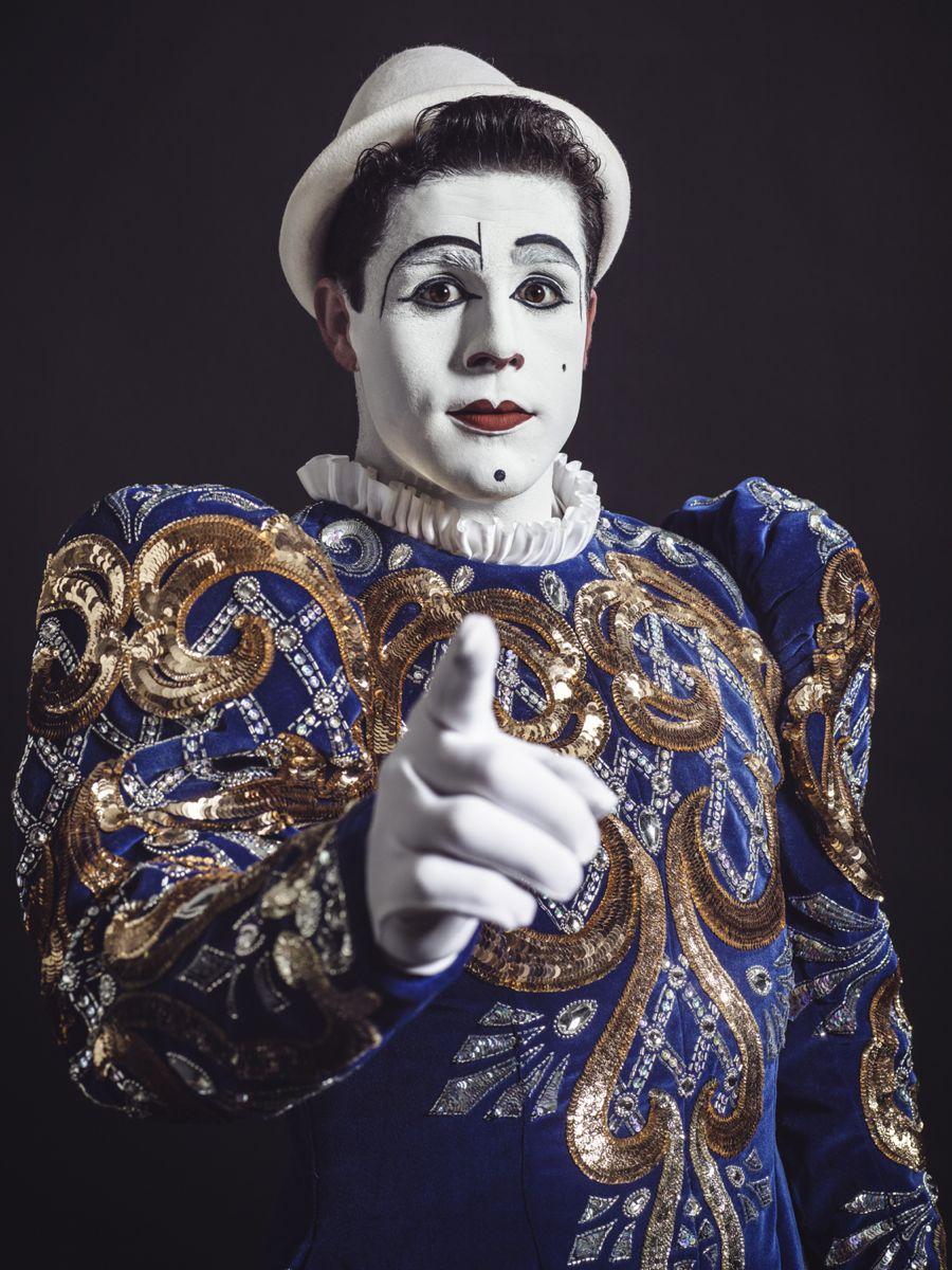 Porträt von Clown Tonito Alexis am 40. internationalen Zirkusfestival von Montecarlo. Bild: Pit Bühler