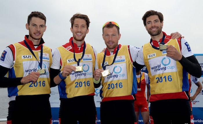 Luzerner Sieger: Lucas Tramèr, Simon Schürch, Simon Niepmann, Mario Gyr (v.l.n.r.) (Bild: Detlev Seyb, Schweizerischer Ruderverband).