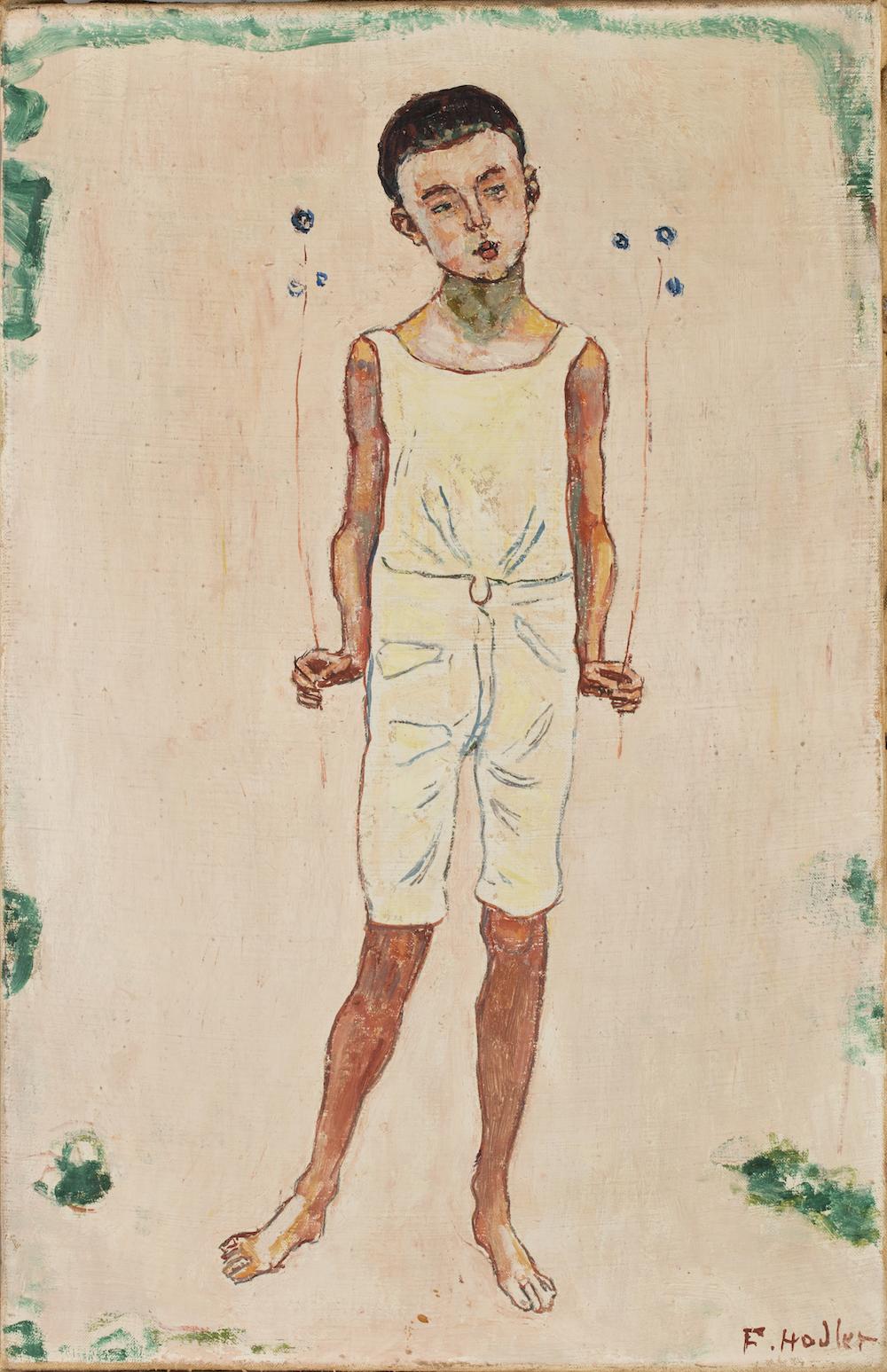 Ferdinand Hodlers Gemälde Bezauberter Knabe (um 1905).