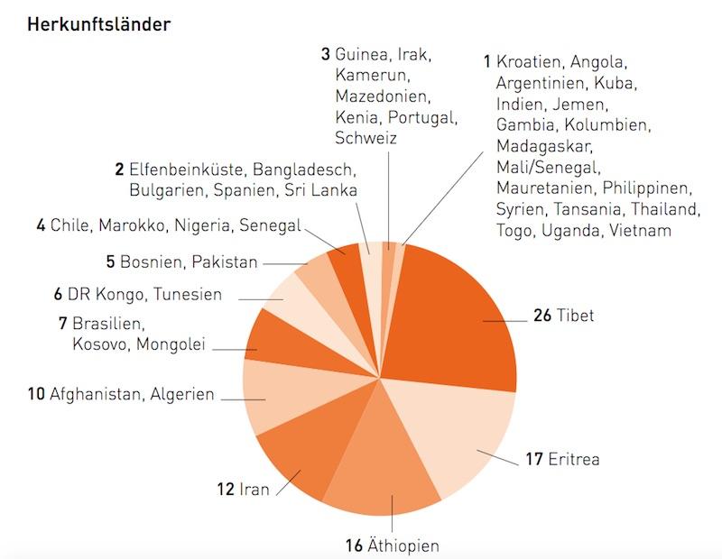 Aus diesen Ländern stammen die in Luzern Beratung suchenden Sans-Papiers. (Bild: Jahresbericht 2015)