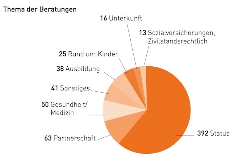 Um diese Themen drehen sich die Beratungen der Beratungsstelle für Sans-Papiers Luzern. (Bild: Jahresbericht 2015).