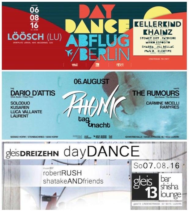 Es läuft was dieses Wochenende. Gleich drei Daydances stehen auf dem Programm: in Adligenswil, Horw und Reussbühl.