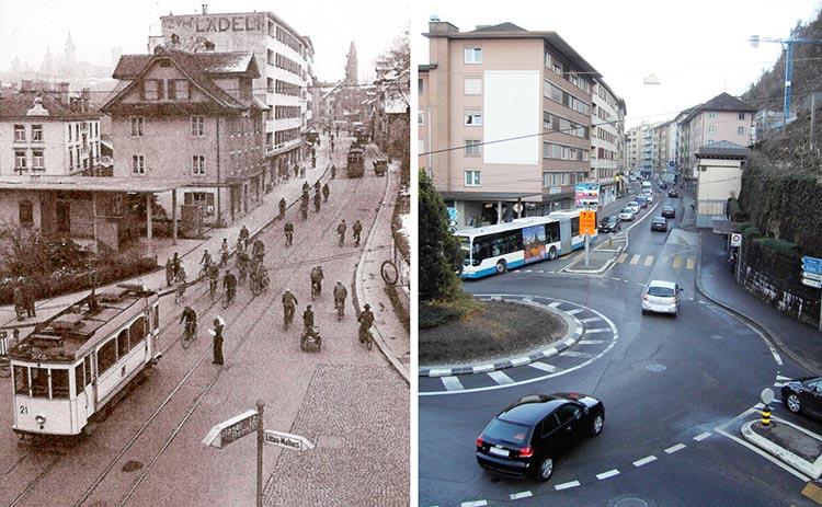 Der Kreisel Kreuzstutz in den 50er-Jahren und heute.