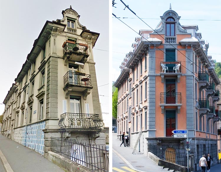 Der Baslerhof vor der Renovation und jetzt mit frischer Fassade.