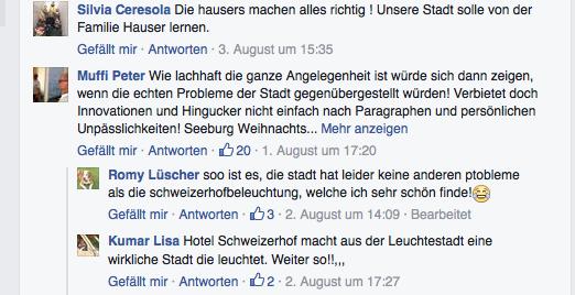 Meinungen auf Facebook zum Thema Beleuchtung Schweizerhof Luzern.
