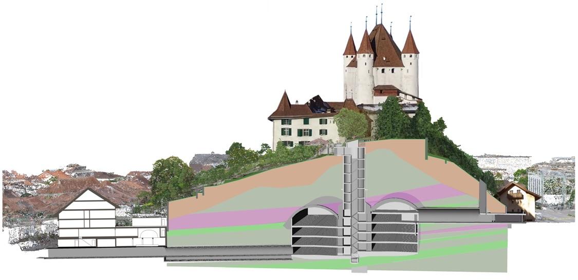 So sieht der Querschnitt des Parkhauses Schlossberg in Thun aus. Als zusätzliches Angebot bringt ein Lift Besucher nach oben zum Schloss.
