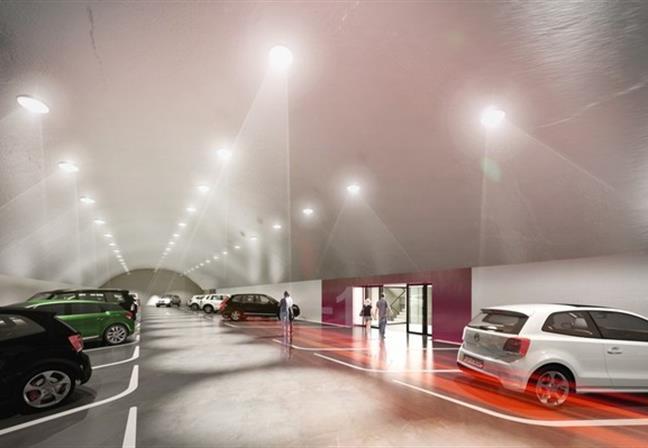 So wird es ab 2018 im Inneren des Schlossberges aussehen: Rund 300 Autos sollen Platz finden.