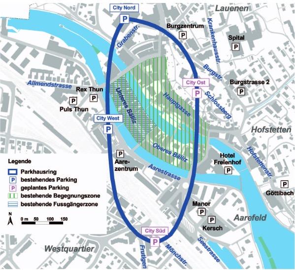Das neue Parkhaus im Schlossberg (Parkhaus Ost) wird als viertes Parkhaus den Ring um die Thuner Altstadt abschliessen. Auf diese Weise kann von allen Seiten her von einem Parkhaus aus die verkehrsbefreite Innenstadt erreicht werden.