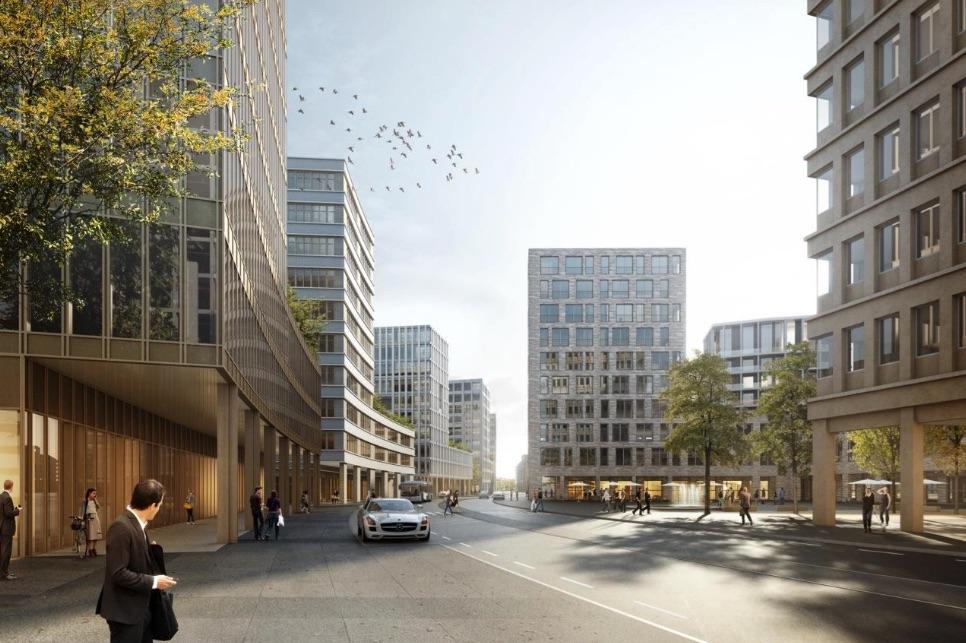 Die neu durchgehende Chollerstrasse zwischen Chamer- und Steinhauserstrasse stellt das Rückgrat des neuen Stadtteils dar. Es sind zwei Fahrspuren, ein Mehrzweckstreifen, beidseitige Radstreifen und Bushaltestellen vorgesehen.