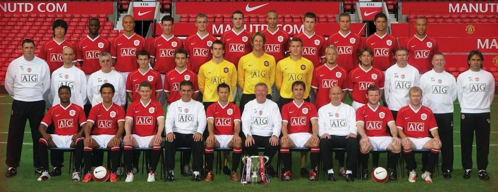 Mit dieser Mannschaft trainierte Neumayr. Erkennen Sie Cristiano Ronaldo, Wayne Rooney, Ryan Giggs oder Paul Scholes?