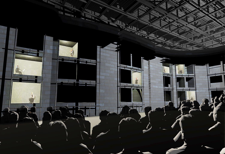 Mögliche Innenansicht der grossen Bühne in der Salle Modulable: Möglich sind alternative Inszenierungen mit Akteuren in Fensteröffnungen.